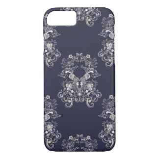 baroque style floral navy pattern. Case-Mate iPhone case