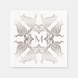 Baroque style floral pattern. monogram. disposable napkins