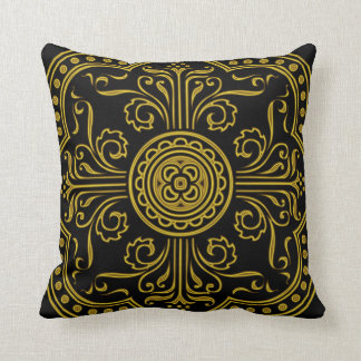 Baroque Style Medallion in Antique Gold Throw Pillow