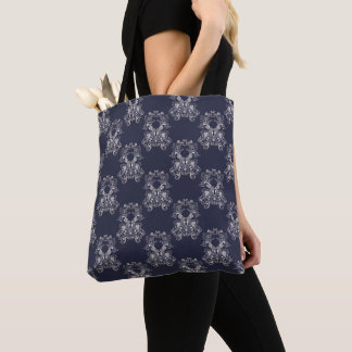 baroque style navy pattern. tote bag