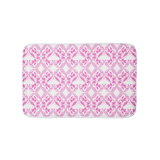 Baroque style pink floral pattern. bath mat