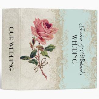 Baroque Style Vintage Rose Aqua n Cream Lace Binder