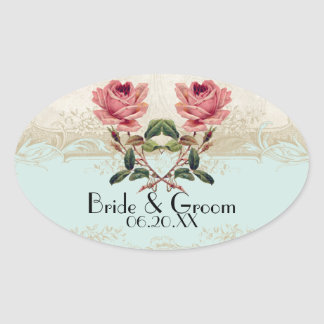 Baroque Style Vintage Rose Aqua n Cream Lace Oval Sticker