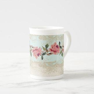 Baroque Style Vintage Rose Aqua n Cream Lace Tea Cup
