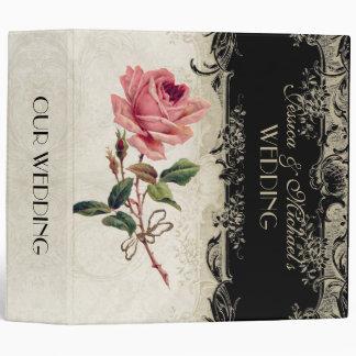 Baroque Style Vintage Rose Black n Cream Lace Binders