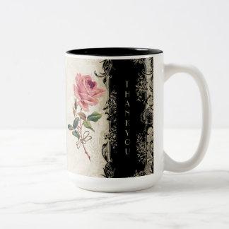 Baroque Style Vintage Rose Black n Cream Lace Mugs