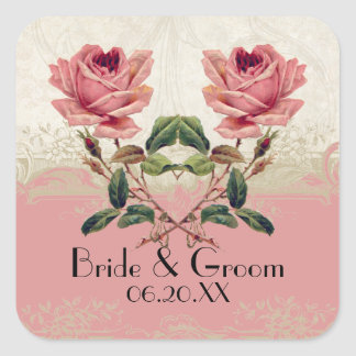 Baroque Style Vintage Rose Lace Square Sticker