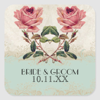 Baroque Style Vintage Rose Mint n Cream Lace Square Sticker