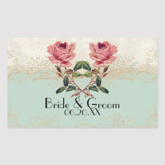 Baroque Style Vintage Rose Mint n Cream Lace Sticker