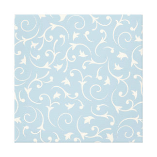 Baroque Swirls – Blue & Cream Canvas Print