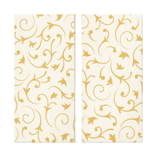 Baroque Swirls – Cream & Gold Gallery Wrapped Canvas