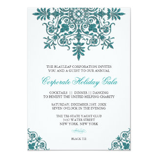 """Baroque Turquoise Glitter Look Holiday Party 4.5"""" X 6.25"""" Invitation Card"""