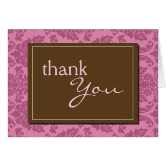 Baroque Vintage Pink Thank You Card