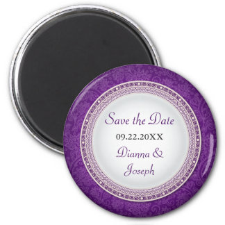 Baroque Violet Plaque Wedding Save the Date Magnet