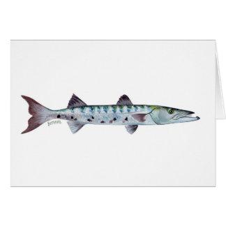 Barracuda fish greetings card