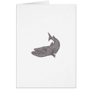 Barracuda Swimming Down Drawing Card