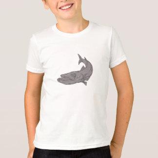 Barracuda Swimming Down Drawing T-Shirt
