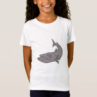 Barracuda Swimming Down Drawing T-Shirt