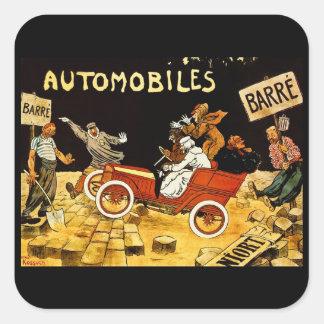 Barre Automobiles - Vintage Advertisement Poster Square Sticker