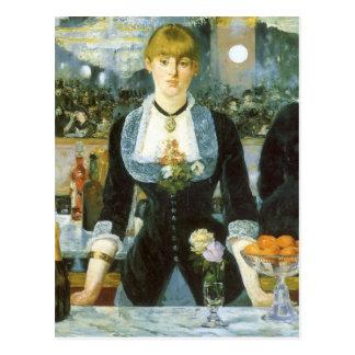Barre chez le Folies Bergere par Manet, art Cartes Postales