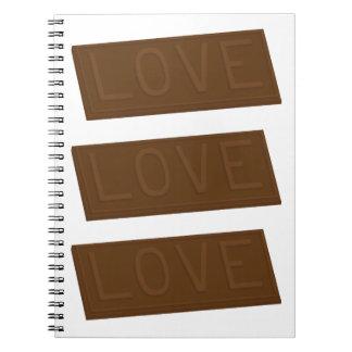 Barre d'amour de chocolat carnet à spirale