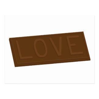 Barre d'amour de chocolat cartes postales
