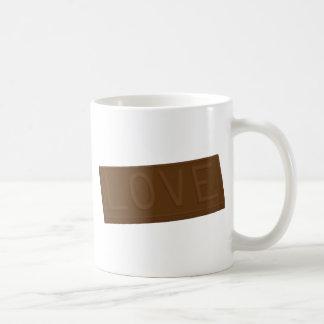 Barre d'amour de chocolat tasses