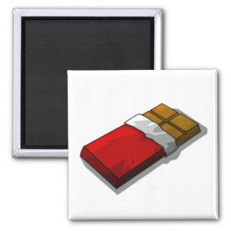 Barre de chocolat en emballage rouge magnet carré