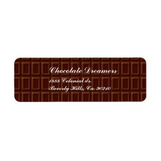 Barre de chocolat étiquettes d'adresse retour