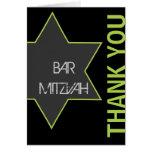 Barre Mitzvah d'étoile de David de Merci vert clai Carte De Vœux