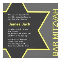 Barre Mitzvah d'étoile de David gris et jaune Carton D'invitation 13,33 Cm