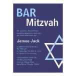 Barre moderne Mitzvah Invitiation- bleu-foncé