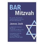 Barre moderne Mitzvah Invitiation- bleu-foncé Invitation Personnalisable