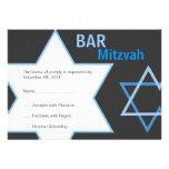 Barre moderne Mitzvah RSVP - bleu et gris Faire-part Personnalisés