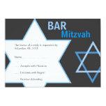 Barre moderne Mitzvah RSVP - bleu et gris Carton D'invitation 12,7 Cm X 17,78 Cm