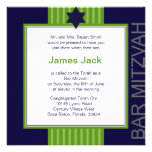Barre ruban vert et bleu de Mitzvah d'étoile de Da