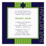 Barre ruban vert et bleu de Mitzvah d'étoile de Da Invitations Personnalisables