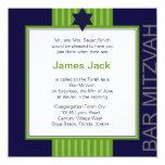 Barre ruban vert et bleu de Mitzvah d'étoile de Invitations Personnalisables