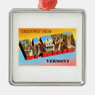 Barre Vermont VT Old Vintage Travel Souvenir Silver-Colored Square Ornament