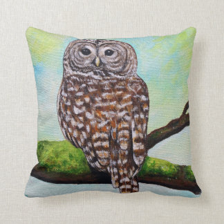 Barred Owl Painting Throw Pillow