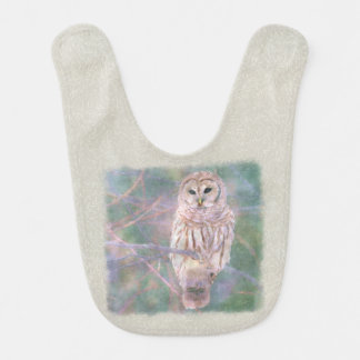 Barred Owl Pastel Oilpainting Baby Bib