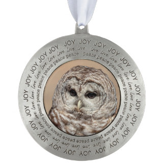 Barred Owl Pewter Ornament