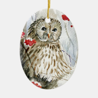 Barred Owl watercolor painting Ceramic Oval Ornament
