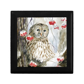 Barred Owl watercolor painting Gift Box