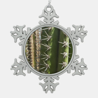 Barrel Cactus II Desert Nature Photo Snowflake Pewter Christmas Ornament
