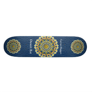 Barrel Cactus Mandala 1 on Blue Thorn Pattern Skate Board