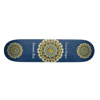 Barrel Cactus Mandala 1 on Blue Thorn Pattern Skateboard