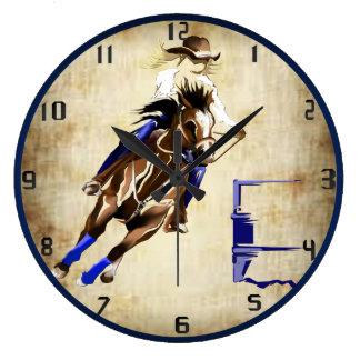 BARREL HORSE LARGE CLOCK