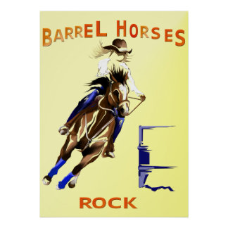 Barrel Horses Rock Poster
