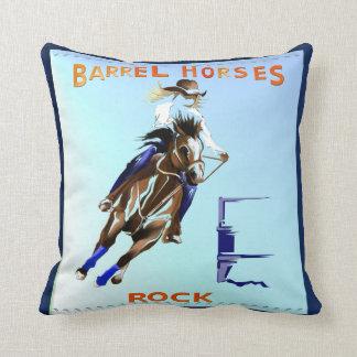 BARREL HORSES ROCK THROW PILLOW